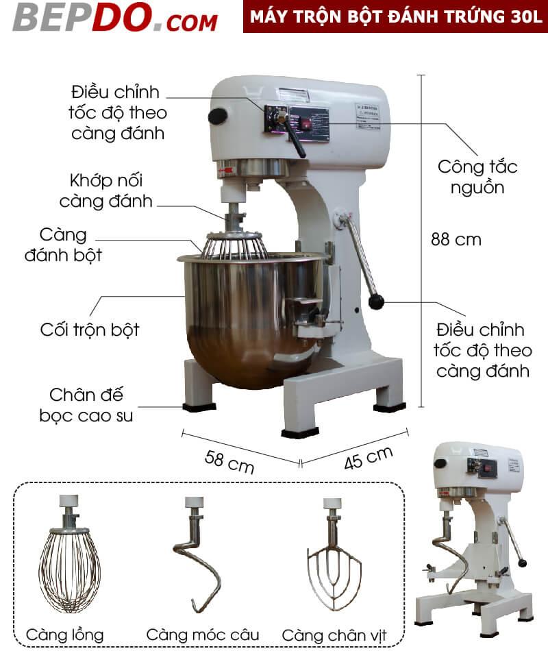 thông số máy đánh trứng trộn bột 30L