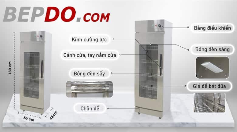 cấu tạo chi tiết tủ sấy bát đĩa công nghiệp 1 buồng