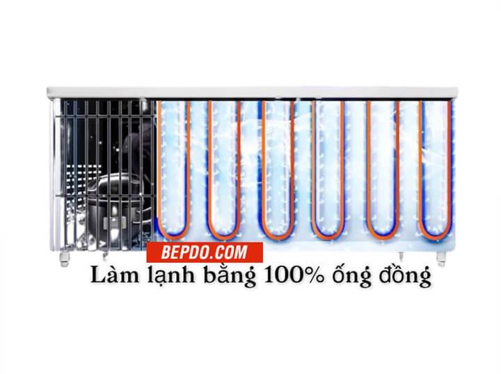 bàn đông mát 1,2m sử dụng 100% ống đồng làm lạnh