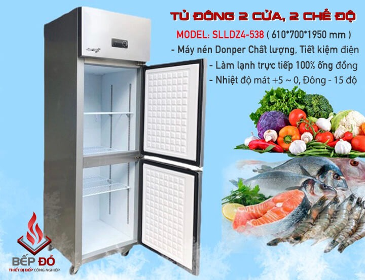 tủ đông 2 cánh 2 chế độ bảo quản thực phẩm đa dạng